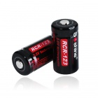 Soshine 3.0V CR123A Batteries with Translucent Protective Case (2-Pack)