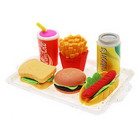 Hamburger and Fries - Lunchbox Style Erasers (6-Pack)