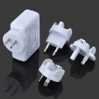 USB Travel Charger with EU / US / UK / AU Plug Adapters - White (DC 5V 2.1A / AC 100~240V)