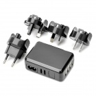 Universal 4-USB Travel AC Power Adapter/Charger - Black