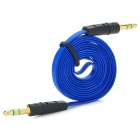 YB-35 3.5mm Jack Male to Male Shielded Flat Audio Cable - Blue + Black (102cm)