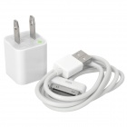 Ultra-Mini USB Power Adapter/Charger with USB Data + Charging Cable for All Ipod/Iphone 2G/3G