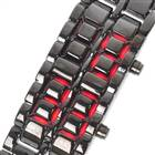 Stylish 8-LED Red Light Digit Stainless Steel Bracelet Wrist Watch - Black (1*CR2016)