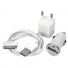 AC/Car Power Adapters + USB Data Cable Charger Set for Iphone 3g/3GS/4/Ipad - White