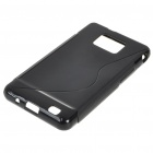 Protective Rubber Gel Silicone Back Case for i9100 Galaxy S2 - Black