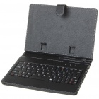 """80-Key QWERTY Wired Keyboard w/ Protective Leather Case for 7~8"""" Tablet PC - Black"""
