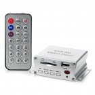 Mini Screen-Free MP3 Music Player with Remote Control/SD/USB/3.5mm Audio Jack - Silver (DC 12V)