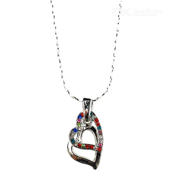Crystal Heart-to-Heart 18K White Gold Plated Necklace crystal heart to heart 18k white gold plated necklace