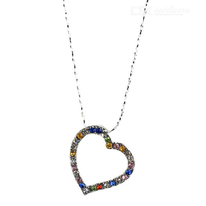 Crystal Heart-of-Love 18K White Gold Plated Necklace crystal heart to heart 18k white gold plated necklace