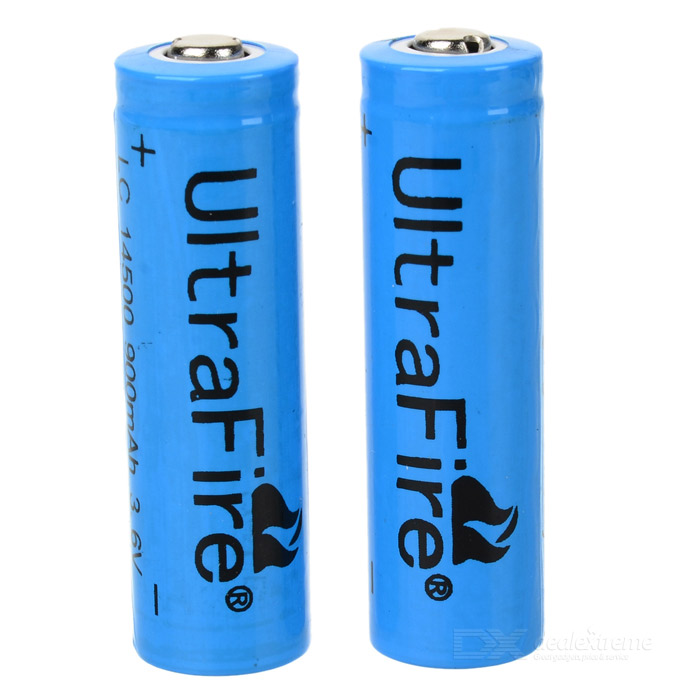 Ultra Fire 14500 3.6V 900mAh 2Pack - DXBatteries <br>Do you want the economical and greener lifestyles? Maybe you should start from using the UltraFire 14500 rechargeable batteries. The 14500 rechargeable batteries adopt universal standards most of them suitable for cameras toys and many other electronic devices. Except that it features extensively long working life and high efficiency great for use. The battery is compact and rechargeable so you can carry it anywhere anytime convenient to use. Voltage: 3.6V (fully charged 3.9V) Capacity (manufacturer claimed): 900mAh - Ideal upgraded power source for the compact LED flashlights - Can be charged by the AC charger - Ultra-high capacity and premium built quality<br>