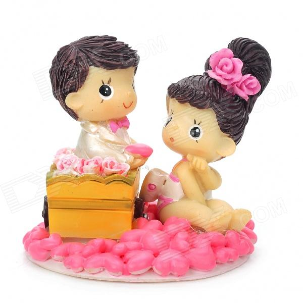 Polyresin Cute Couple Figures - Pink