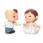 Cute West Style Couple Dancing Display Toy Doll - White + Grey