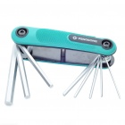 Compact 7-in-1 Fold-Up Hex Wrench Tool Kit - Green + Silver