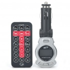 "1.0"" LCD Car MP3 Player FM Transmitter w/ Remote Controller/USB/TF - Black + Silver (DC 12V)"