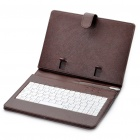 "80-Key QWERTY Wired Keyboard w/ Protective Leather Case for 7~8"" Tablet PC - Coffee"