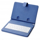 "80-Key QWERTY Wired Keyboard w/ Protective Leather Case for 7~8"" Tablet PC - Blue"