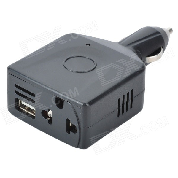 Plastic Car DC12V/24V to AC220V Power Inverter with USB Port - Black