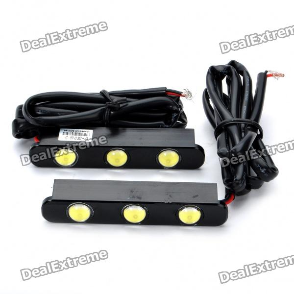 Auto Car 6W 150LM White 3-LED Daytime Running Light (2-Piece Pack)