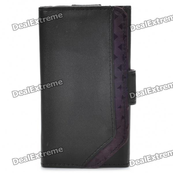 Protective PU Leather Case w/ Screen Protector & Cleaning Cloth for Ipod Touch 4 - Black pu leather folio shell with hand strap for ipod touch 6 touch 5 nothing