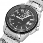 Stylish Water Resistant Stainless Steel Wrist Watch w/ Calendar - Silver + Black (1 x 626)