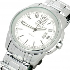 Stylish Water Resistant Stainless Steel Wrist Watch w/ Calendar - Silver + White (1 x 626)