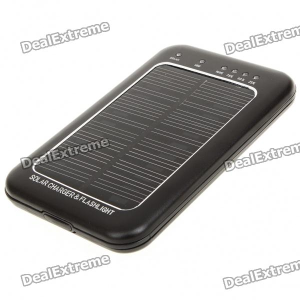 Solar Powered Rechargeable 2600mAh Portable Power Pack with Flashlight + Charging Adapters - Black 3 6v 2400mah rechargeable battery pack for psp 3000 2000