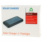 Solar Powered Rechargeable 2600mAh Portable Power Pack med ficklampa + Laddningsadaptrar - Svart