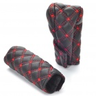 Durable Knob + Side Breake Cover Set - Black + Red (2-Piece Pack)