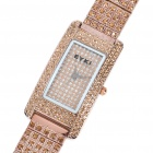 Fashion Shining Stainless Steel Rhinestone Water Resistant Wrist Watch - Golden (1 x 626)
