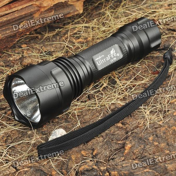 UltraFire C2-T60 3-Mode 1200-Lumen White LED Flashlight with Strap - Black (1 x 18650) ultrafire c2 t60 5 mode 1200 lumen memory white led flashlight 1 x 17670 1 x 18650