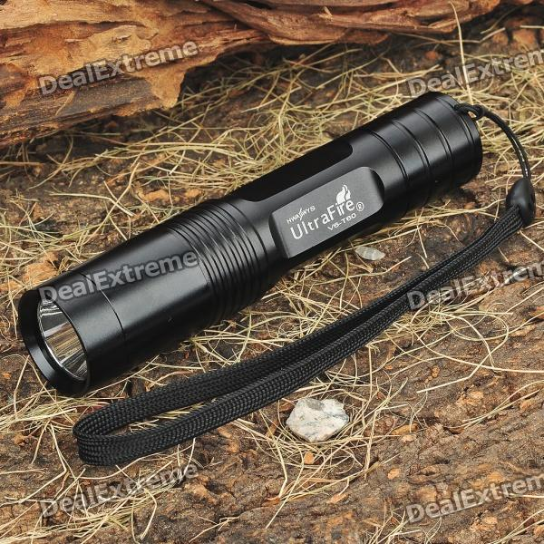 UltraFire V6-T60 3-Mode 975-Lumen White LED Flashlight with Strap - Black (1 x 18650) ultrafire v6 t60 5 mode 975 lumen white led flashlight with strap black 1 x 18650
