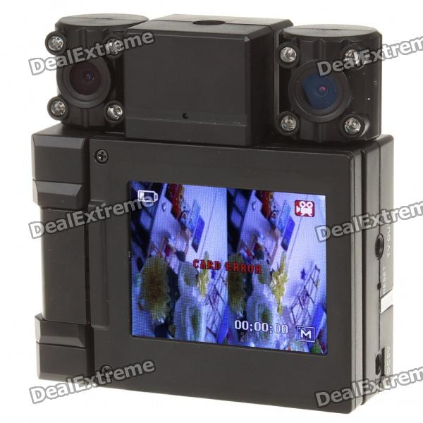 "3.0MP Dual Lens Weitwinkel Auto DVR Camcorder w / 8-IR LED Nachtsicht // TV Out / TF (2,0 ""-TFT-LCD)"