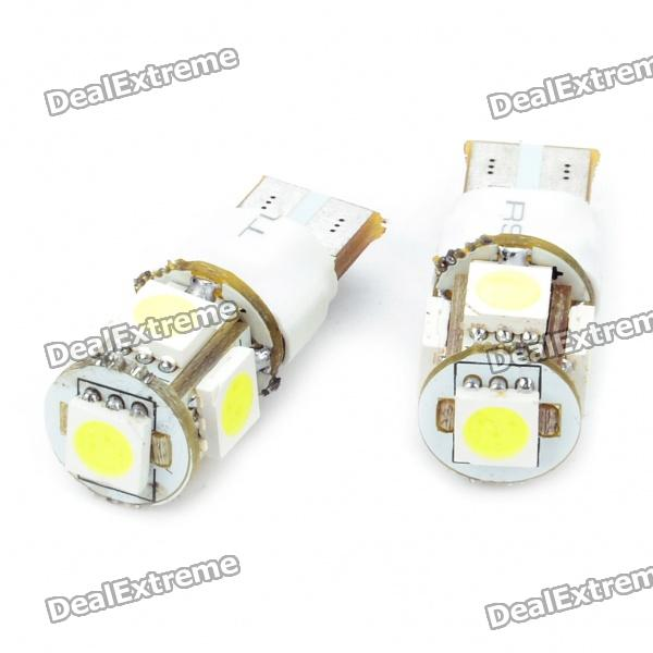 T10 1.5W 6500K 60-Lumen 2-Mode 5-5050 SMD LED White Light Bulbs (DC 12V/Pair) 1157 bay15d 5050 30 smd 4w 6500k 360lm led car light bulbs dc 14v pair