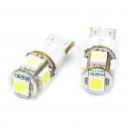 T10 1.5W 6500K 60-Lumen 2-Mode 5-5050 SMD LED White Light Bulbs (DC 12V/Pair)