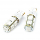 T10 2W 110-Lumen 2-Mode 9-5050SMD LED Red Light Bulbs (DC 12V/Pair)