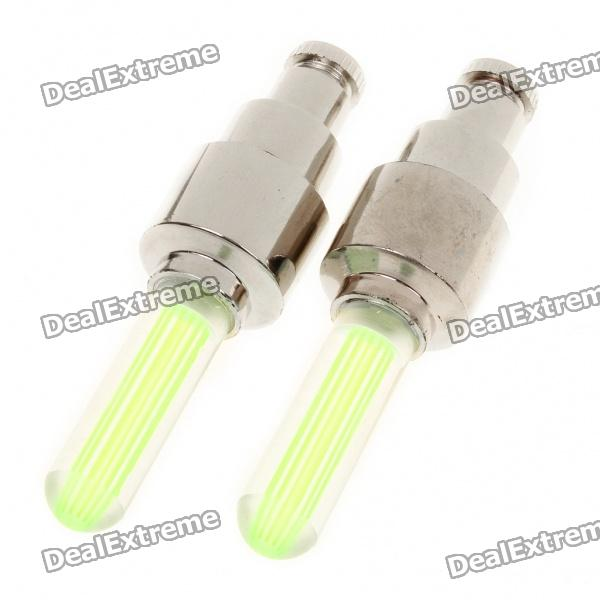 Tyre Wheel Valve Cap Green LED Flash Light for Car/Bike/Motorbicycle - Pair (3 x AG10) 20pcs t5 5050 1smd wedge dashboard led white red blue green yellow pink car auto light interior dashboard bulb side lamps dc 12v