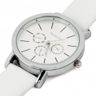 Fashion PU Leather + Stainless Steel Water Resistant Wrist Watch - White (1x377)