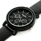 Fashion PU Leather + Stainless Steel Water Resistant Wrist Watch - Black (1x377)