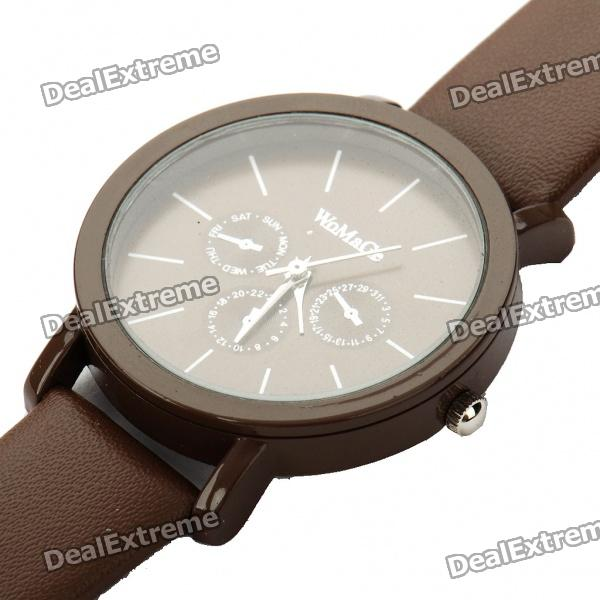 Fashion PU Leather + Stainless Steel Water Resistant Wrist Watch - Brown (1x377)