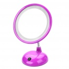 USB Rechargeable Flexible Neck 15-LED White Light Desktop Mirror w/ 3X Magnification - Purple