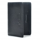 Fashion Genuine Leather Folding Men Wallet - Black