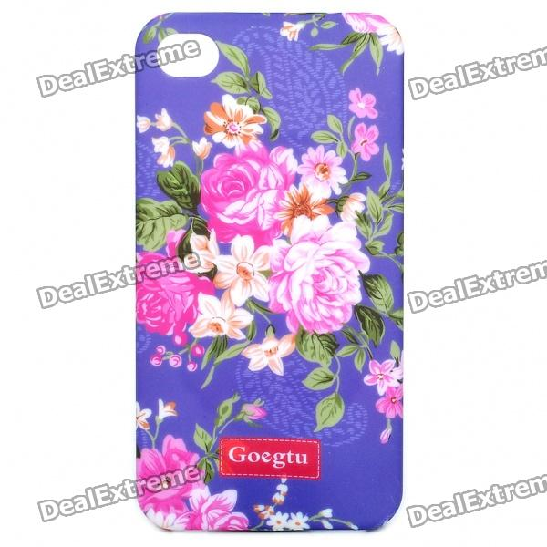GOEGTU Stylish Flower Pattern Protective ABS Back Case for Iphone 4 - Purple stylish 3d death reaper pattern protective abs pc pet back case for iphone 4 4s black