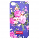 GOEGTU Stylish Flower Pattern Protective ABS Back Case for Iphone 4 - Purple