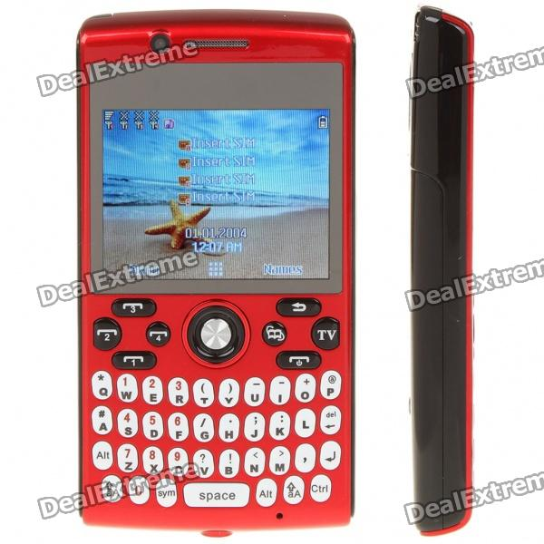 "L800 2.3"" LCD Quad SIM Quad Network Standby Quadband GSM Qwerty Phone w/ FM + TV - Red + Black"