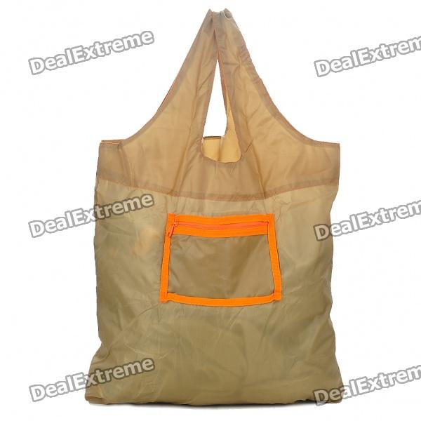Packable Polyester Handbag with Hang Clip - Light Brown