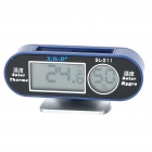 "Solar Powered 1,5 ""-LCD-Digital-Thermometer + Hygrometer für Auto / Home"