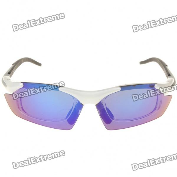 Cool UV Protection Resin Frame PC Lens Sports Sunglasses Goggles w/ 5 Replacement Lens Set