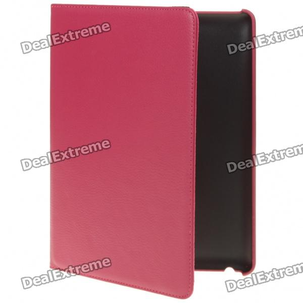 Protective Swivel PU Leather Case for iPad 2 - Purple Red