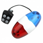 6-LED Strobe Blue and Red Bicycle Safety Light w/ 4-Melody Horn (2 x AA)