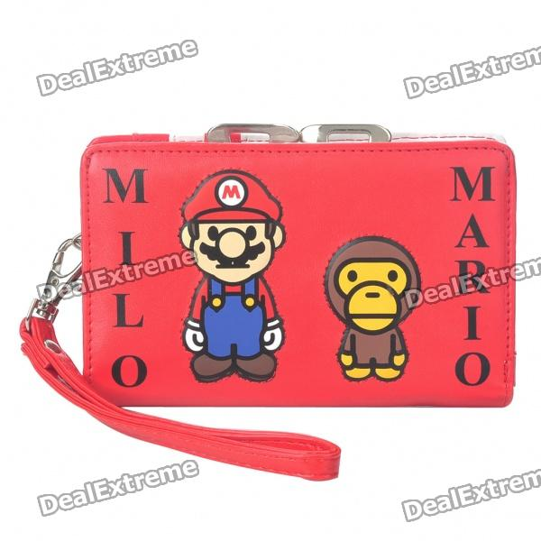 Cute Luxury Mario Milo Cartoon PU Leather Bag Wallet with Hand Strap - Red + White